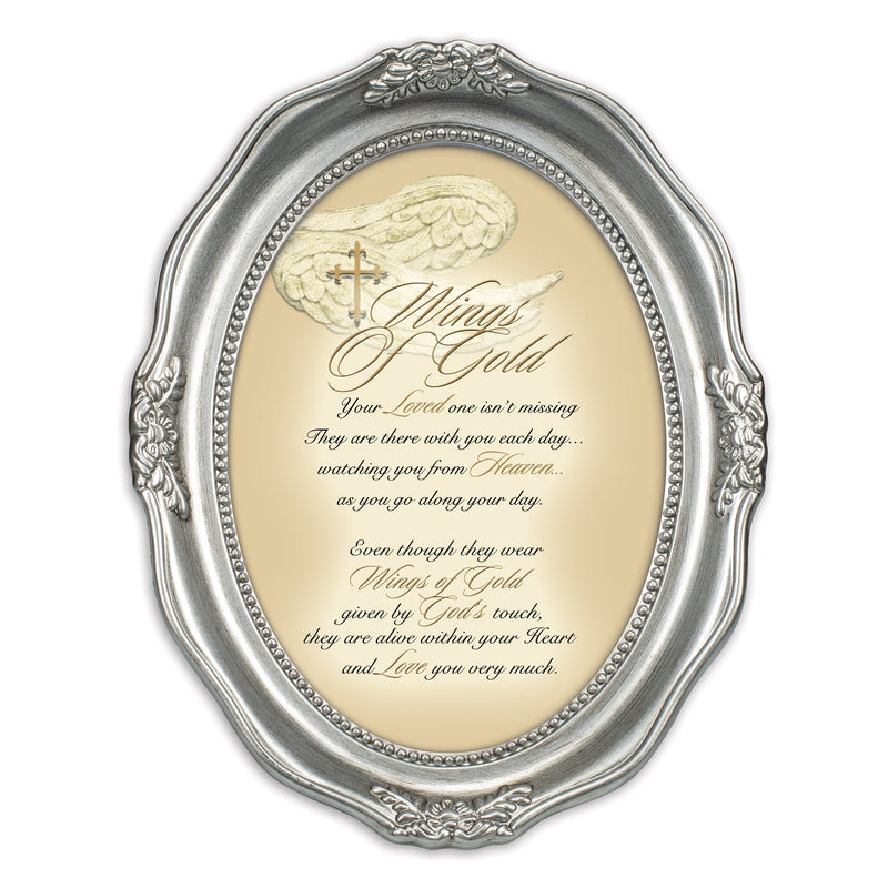 Wings Of Gold Loved One Brushed Silver Wavy 5 x 7 Oval Table and Wall Photo Frame