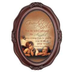 Guardian Angels Inspirational Mahogany Finish Wavy 5 x 7 Oval Table and Wall Photo Frame