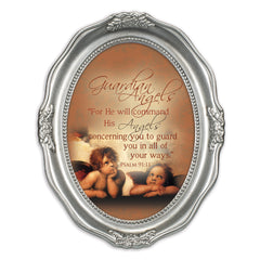 Guardian Angels Inspirational Brushed Silver Wavy 5 x 7 Oval Table and Wall Photo Frame