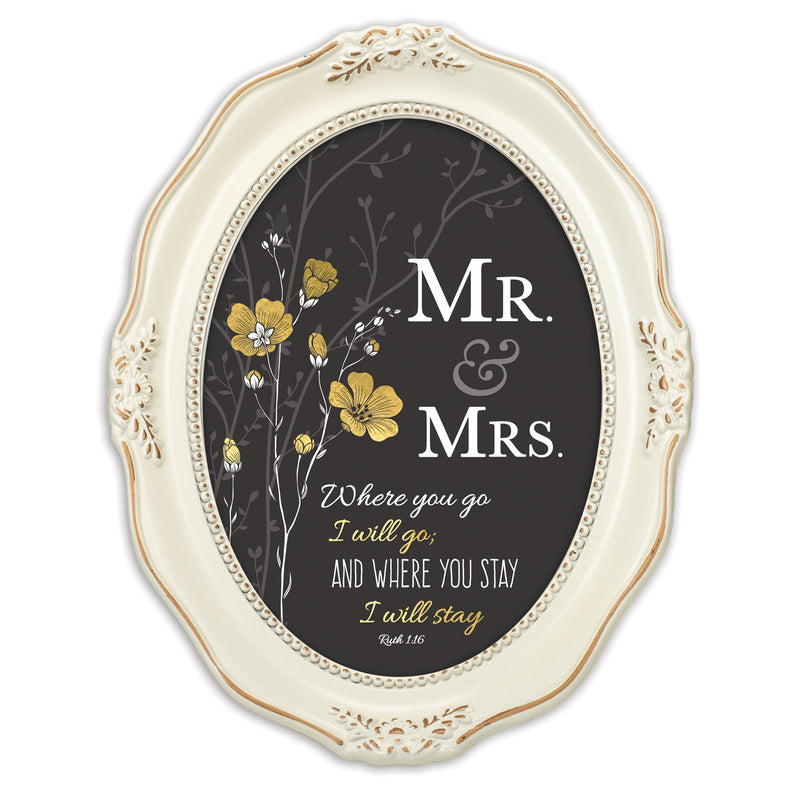 Mr. & Mrs. You Stay Inspirational Distressed Ivory Wavy 5 x 7 Oval Table and Wall Photo Frame