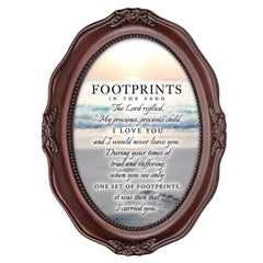 Footprints In The Sand Mahogany Finish Wavy 5 x 7 Oval Table and Wall Photo Frame