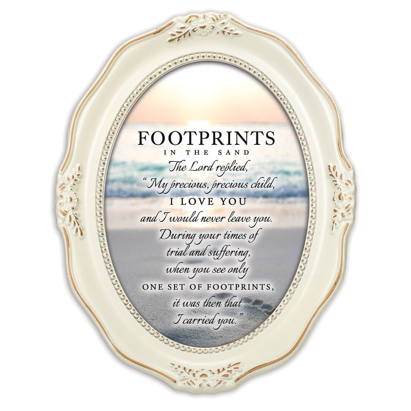 Footprints In The Sand Distressed Ivory Wavy 5 x 7 Oval Table and Wall Photo Frame