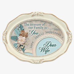 Wife Treasure Family Inspirational Distressed Ivory Wavy 5 x 7 Oval Table and Wall Photo Frame