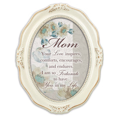 Mom Inspires Comforts Encourages Distressed Ivory Wavy 5 x 7 Oval Table and Wall Photo Frame