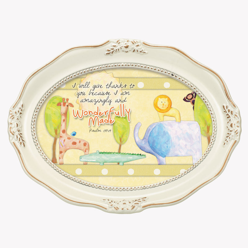 Wonderfully Made Inspirational Distressed Ivory Wavy 5 x 7 Oval Table and Wall Photo Frame