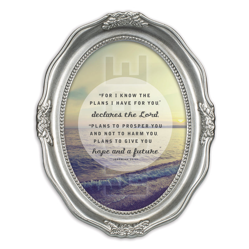 Plans I Have For You Inspirational Brushed Silver Wavy 5 x 7 Oval Table Top and Wall Photo Frame