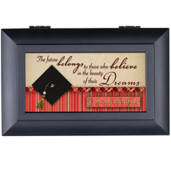 Believe in the Beauty of Your Dreams Matte Black Jewelry Music Box Plays Wonderful World
