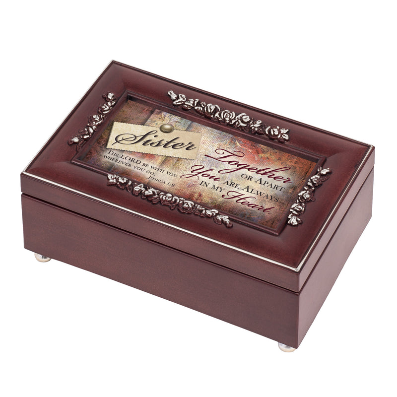 Sister Always in my Heart Rosewood Jewelry Music Box Plays You Are My Sunshine