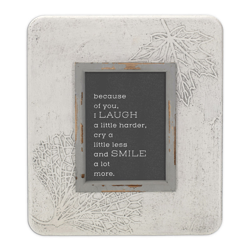 Because Of You, I Laugh 13.5 x 11.5 Dandelion Impression Wall Art Sign Plaque, Medium