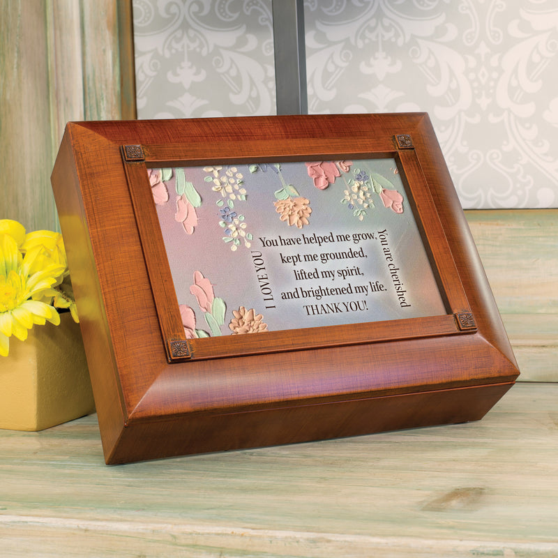 You Helped Me Grow Thank You Beveled Woodgrain Tea Storage Chest and Jewelry Box