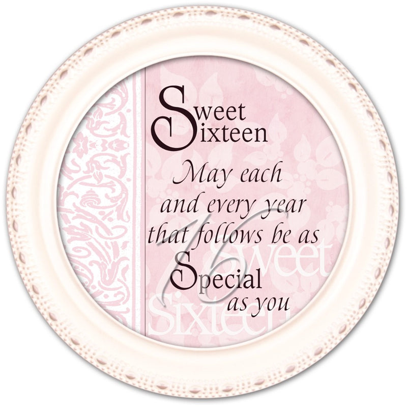 Sweet Sixteen May Every Year be Special Ivory Rope Trim Petite Round Jewelry and Keepsake Box