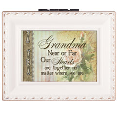 Grandma Hearts Ivory Rope Trim 4.5 x 3.5 Tiny Square Jewelry Keepsake Box