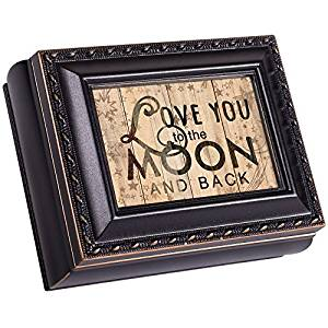 Love You To The Moon Black Rope Trim 4.5 x 3.5 Tiny Square Jewelry Keepsake Box