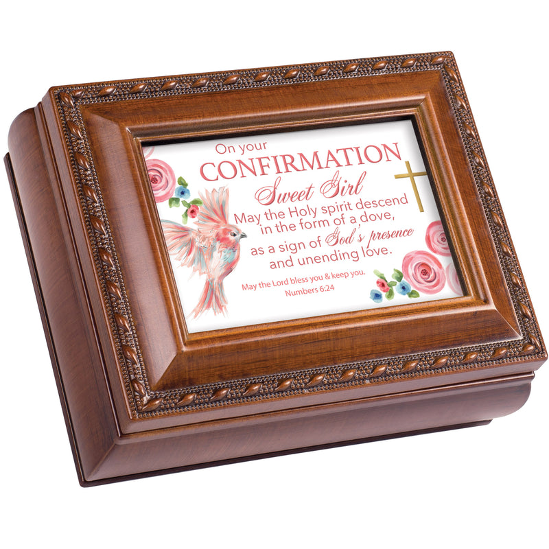 On Your Confirmation  Solid Brown 5 x 3 Ivory Tiny Square Jewelry Keepsake Box