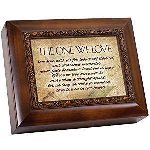 in Memory They Live On in Our Hearts 9.5 x 8 inch Wood Finish Ashes Memorial Urn Box