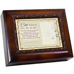 Cat Prints On My Heart Came Into Woodgrain Embossed Ashes Memorial Urn Box