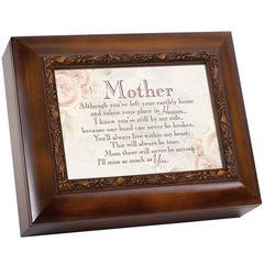 Mother Left Your Earthly Home Woodgrain Embossed Ashes Bereavement Urn Box