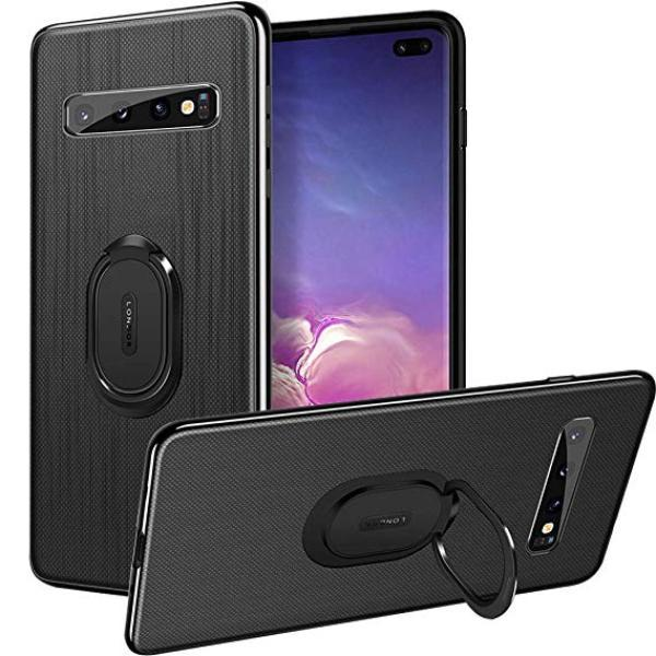 Galaxy S10 Plus (3 in 1 Combo) Cloth Texture Ring Case + Tempered Glass + Camera Lens Guard