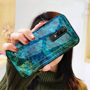 OnePlus 6 (3 in 1 Combo) Soothing Sea Pattern Glass Case + Tempered Glass + Camera Lens Guard