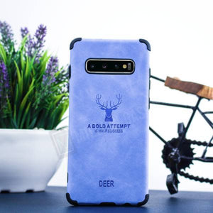 Galaxy S10 Plus Shockproof deer leather texture Case