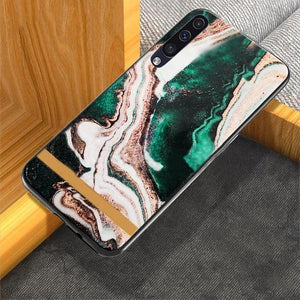 Galaxy A70 (3 in 1 Combo) Chic Marble Case + Tempered Glass + Camera Lens Guard