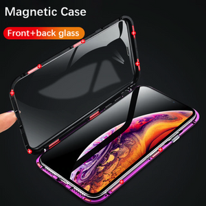 iPhone X (Front+ Back) Glass Magnetic Case + Tempered Glass + Camera Lens Guard