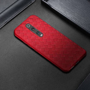 OnePlus 7T Pro (3 in 1 Combo) Grid Weaving Case + Tempered Glass + Camera Lens Guard