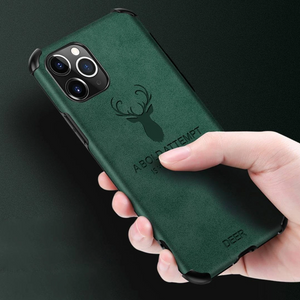 iPhone 11 Pro Max Shockproof Deer Print Leather Textured Case