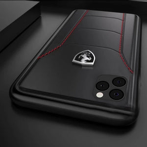 iPhone All - (3 in 1) Combo Ferrari Case + Tempered + Camera Lens Protector