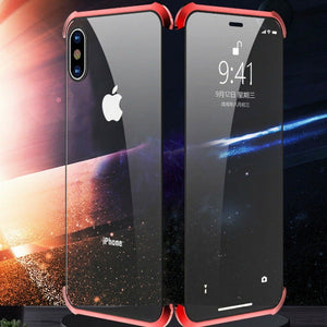 iPhone X Frameless (Front+ Back) Magnetic Glass Case + Tempered Glass + Camera Lens Guard