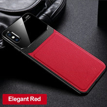 Load image into Gallery viewer, iPhone XS Sleek Slim Leather Glass Case