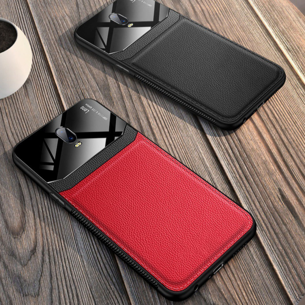 OnePlus 7 (3 in 1 Combo) Leather Lens Case + Tempered Glass + Camera Lens Guard