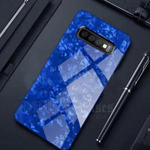 Galaxy S10 Plus (3 in 1 Combo) Marble Case + Tempered Glass + Camera Lens Guard