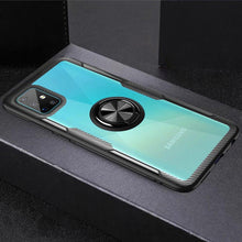 Load image into Gallery viewer, Galaxy A71 Shockproof Transparent Metallic Ring Holder Case