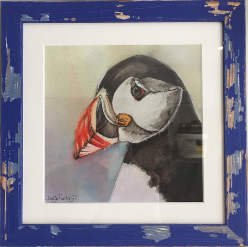 Puffin - Framed Print - 4 colours, shabby chic frame.