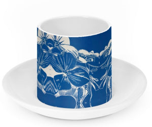 Ceramic Espresso Cup and Saucer - Blue Hydrangea