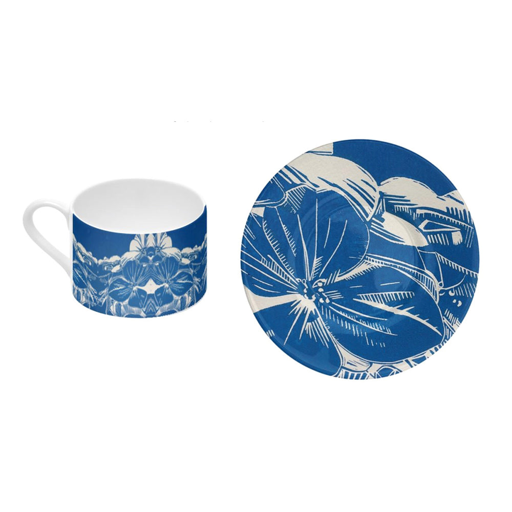 Bone China Coffee Cup and Saucer -Blue Hydrangea