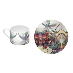 Caster Oil Leaf - Bone China Coffee Cup and Saucer