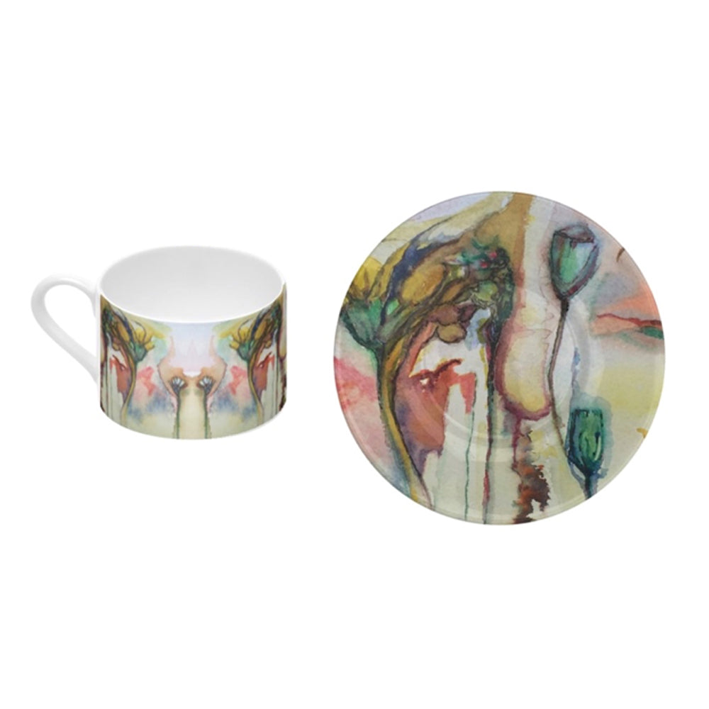 Flowers of the Field - Bone China Coffee Cup and Saucer