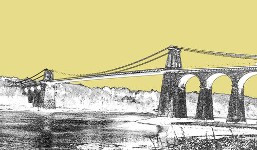 Menai Bridge - Gold Sky - Mounted Print