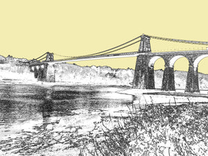 Menai Bridge - Print Soft Gold