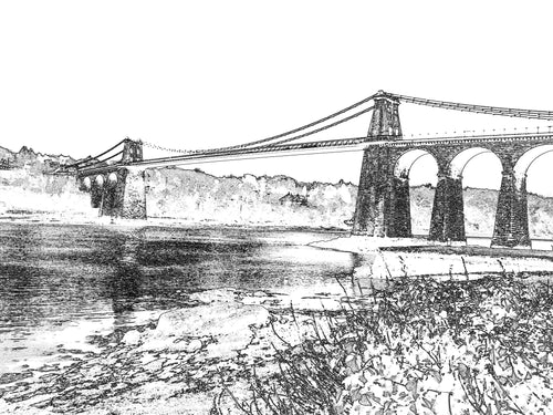 Menai Bridge - Print Black and White - Mounted