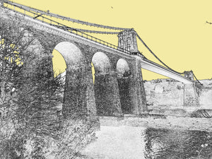 Menai Bridge - Yellow Sky _ Mounted Print