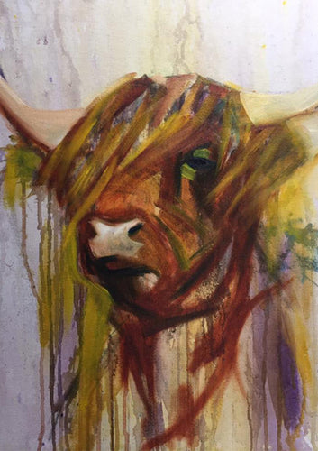 Moody Cow - Mounted Print