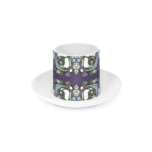 Load image into Gallery viewer, Ceramic Espresso Cup and Saucer - Purple Abstract Flowers