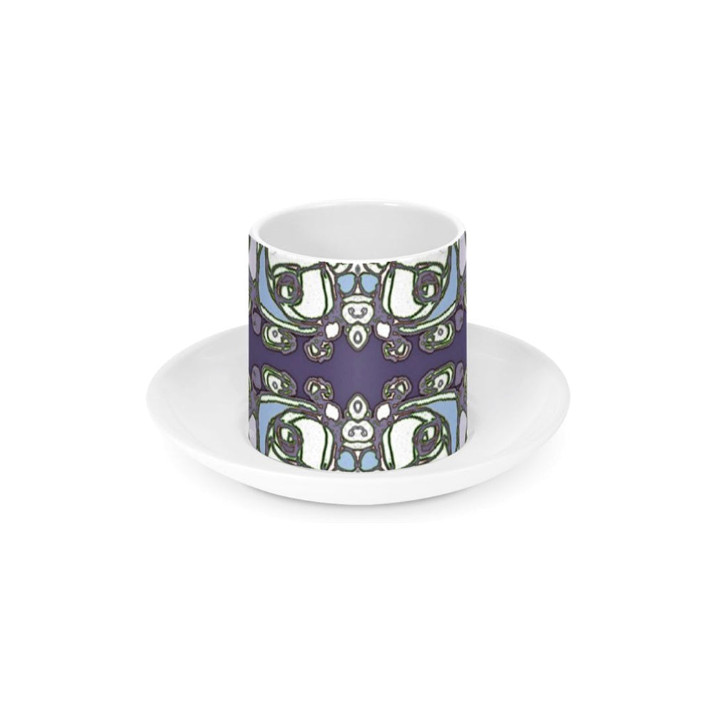 Purple Abstract Flowers - Ceramic Espresso Cup and Saucer