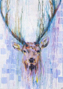 Stag in Rain - Greeting Card