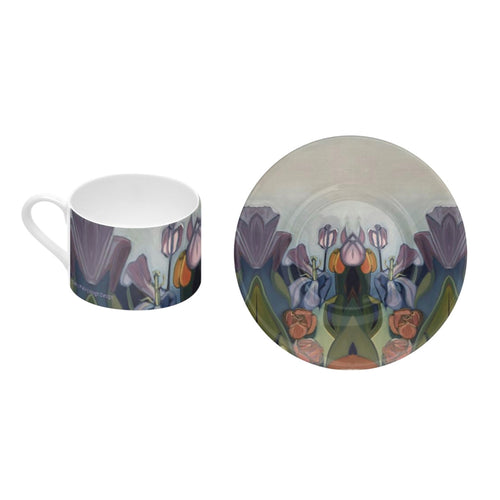 Through The Tulips - Bone China Coffee Cup and Saucer