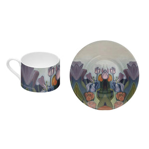 Bone China Coffee Cup and Saucer -Through The Tulips