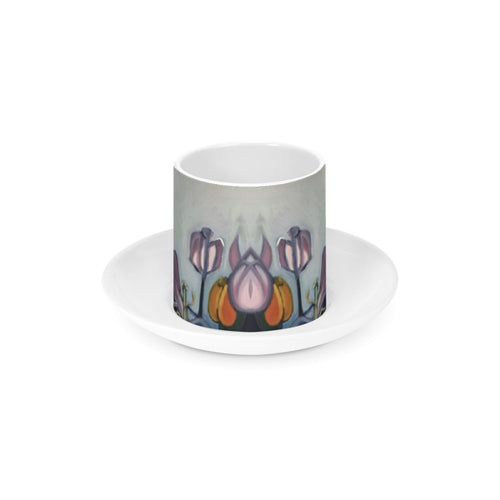 Through The Tulips - Ceramic Espresso Cup and Saucer